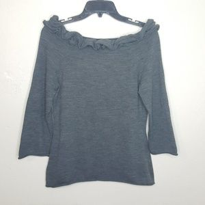 Anthropologie Sweaters - M Anthropologie MOTH Ruffle Gray Sweater Top C